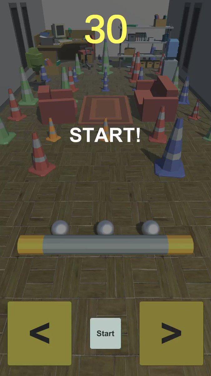部屋を占領している三角コーンをボールを当てて破壊するゲームです。「コーンブレイカー:三角コーン崩し」iOS Android #三角コーン崩し #madewithunity #madewithbolt #unity #gamedev #indiedev