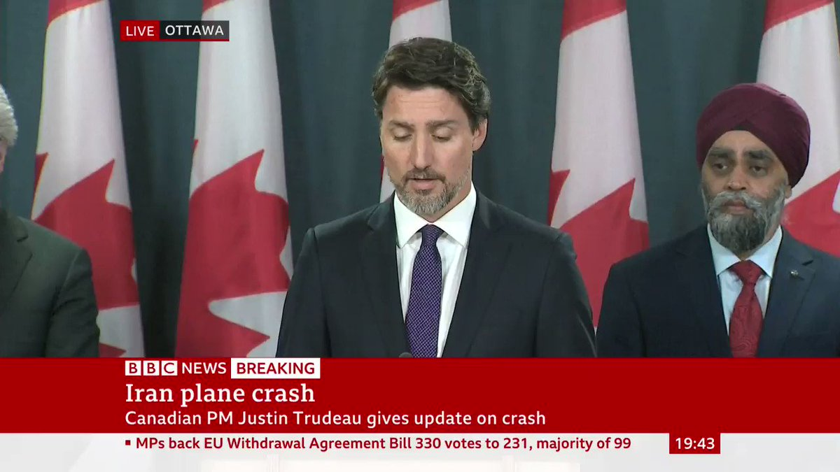 """The plane was shot down by an Iranian surface-to-air missile, this may well have been unintentional""  Canadian PM Justin Trudeau calls for a ""thorough investigation"" into crash of Ukrainian plane near Tehran killing 176 people, including 63 Canadians  http://bbc.in/2QDjZpT"