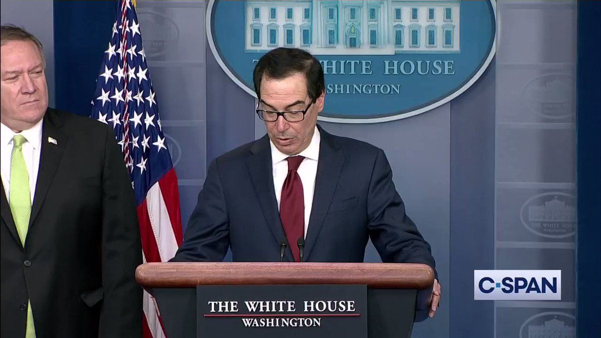 .@stevenmnuchin1: We are announcing additional sanctions against the Iranian regime... Full video here: cs.pn/2sVLRN2