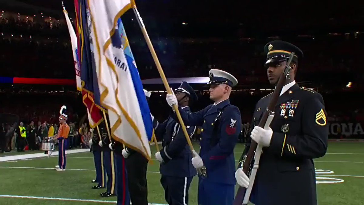 CANT GET Enough of This... Full Video of Our @POTUS & @FLOTUS Walking Out On To The Field To Join The Military Escort Crowd Cheering... God Bless The USA! National Championship