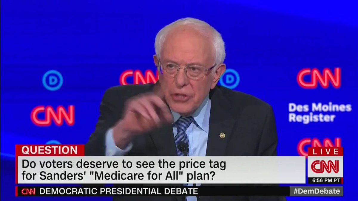 Bernie Sanders just admitted he wants to raise taxes on Americans making $29,000 a year.  The average family would pay $1,200 more in taxes every year to cover the cost of Sanders Medicare for All system giving free health care to illegal aliens. #DemDebate