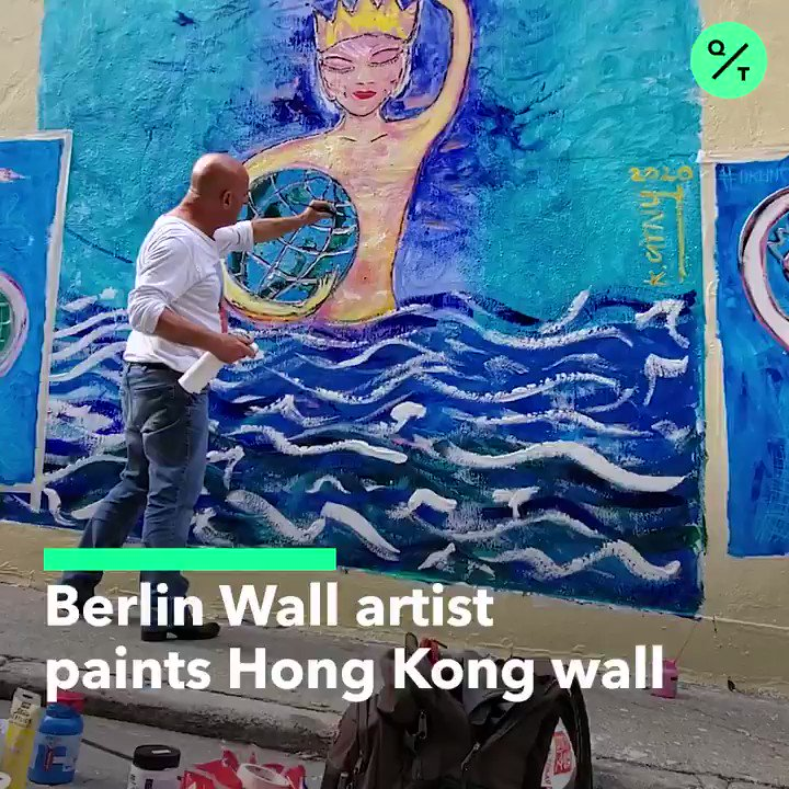 In 1984, artist Kiddy Citny painted the Berlin Wall, 5 years before it fell. 36 years later, he painted another wall-- this time in Hong Kong for the #HongKongProtests #香港
