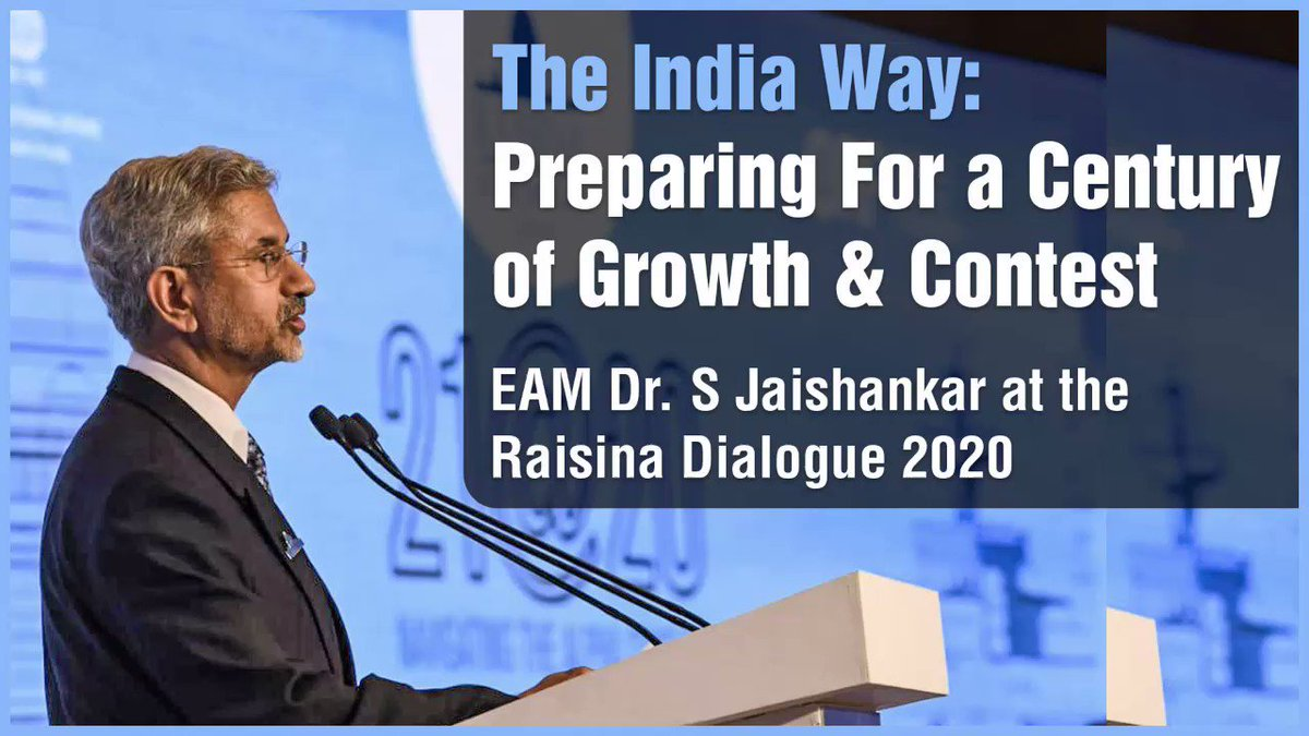 EAM @DrSJaishankar lays down the 'The India Way' during his conversation at #Raisina2020.  Watch the highlights of his interaction ⤵