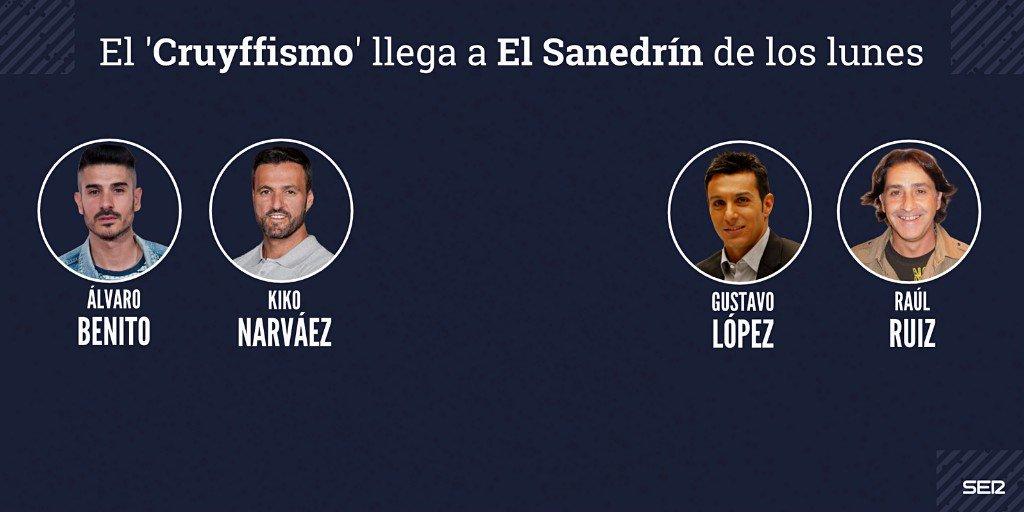 📻🚨⚽ La semana en la que vuelve el Cruyffismo al Barça anunciamos que el Cruyffismo llega a @La_SER 🗣⭐A partir de ahora podrás escuchar a @JordiCruyff todos los lunes junto a @AlvaroBenitoV @cuervolopez @RaulRuizBenito y Kiko Narváez en el Sanedrín de ex futbolistas