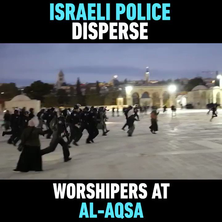 WATCH: Israel police forcefully dispersed worshipers at al-Aqsa mosque after thousands responded to a call by Palestinian groups to perform the dawn 'fajr' prayer at the holy site