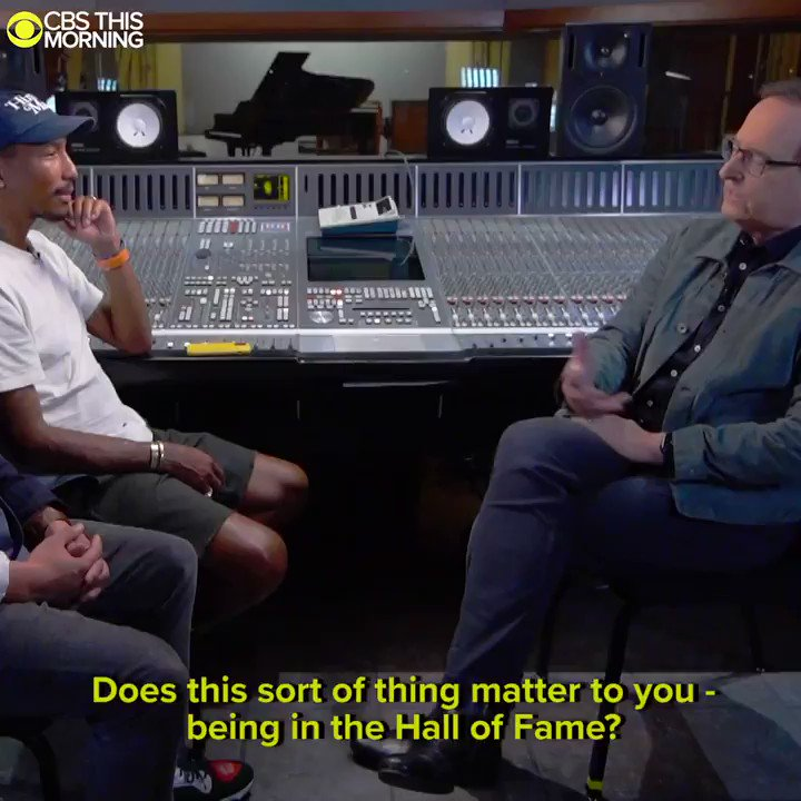 WATCH: @AnthonyMasonCBS visited @SongwritersHOF inductees @Pharrell and @ChadHugo in the studio while they were working on brand-new music for Megan Thee Stallion (@theestallion). cbsn.ws/2R47BiX