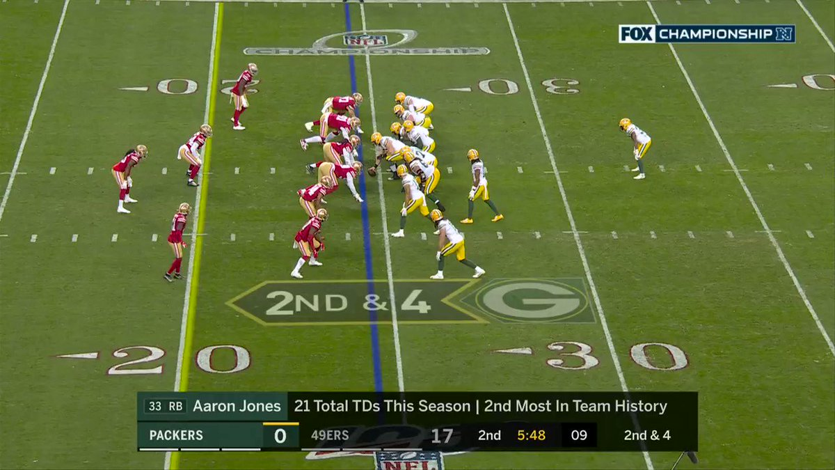 This is cringeworthy....why doesn't Rodgers get on this or not even try??? We skewered Can Newton for similar play in SB...