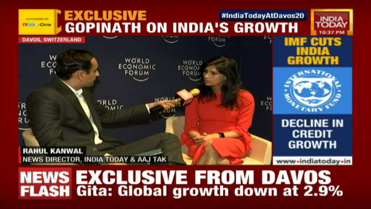 #IndiaTodayAtDavos20 What's important for India's growth? IMF Chief Economist @GitaGopinath tells us as she speaks #exclusively to @rahulkanwal #Newstrack LIVE https://t.co/4fqxBVUizL