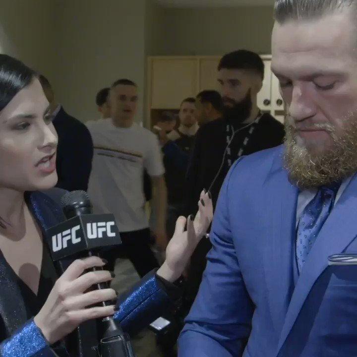 """Mean Mugs & Shoulder Shrugs!"" 🤷♂️  @MeganOlivi talked to @TheNotoriousMMA after #UFC246 ⤵️"