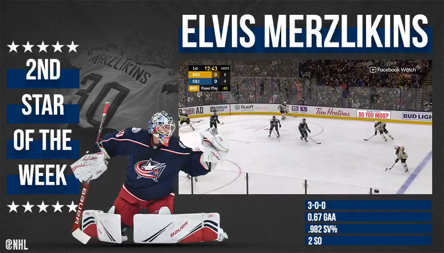 A perfect 3-0-0 record with two shutouts to add. What a week for Elvis Merzlikins (@Merzly30). ⭐️