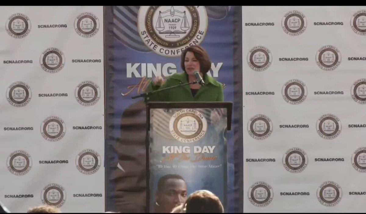 Sen. @AmyKlobuchar: 'If we cannot vote, we cannot speak.' #MLKDay