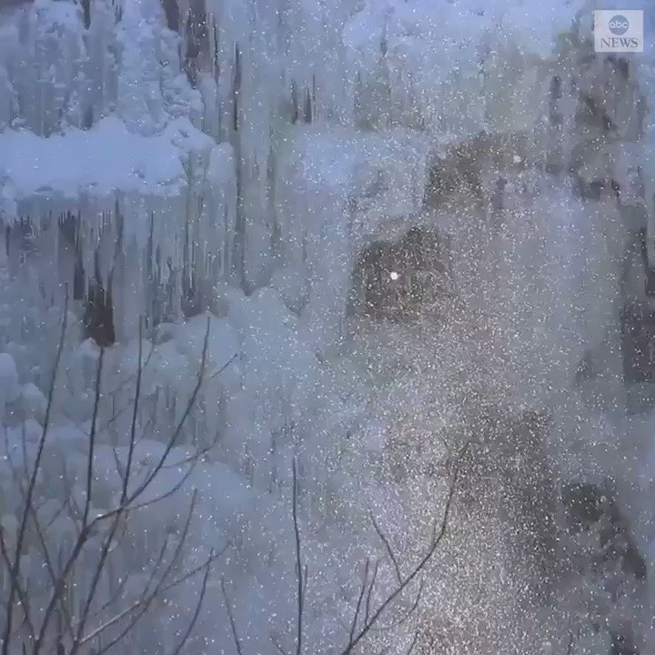 FROZEN FALLS: New York's Salmon River Falls was the site of a beautiful winter scene after frigid temperatures partially froze a waterfall. https://abcn.ws/2NL0cTA