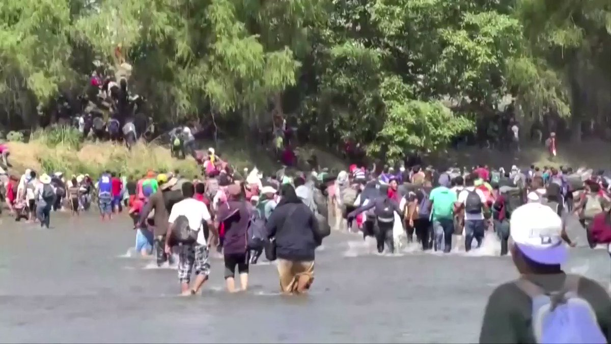 Hundreds of Central Americans waded across a river into Mexico from Guatemala, some clashing with waiting security forces. The surge is a new challenge for President Obrador's efforts to contain migration at the bidding of the United States https://reut.rs/2uicLyK