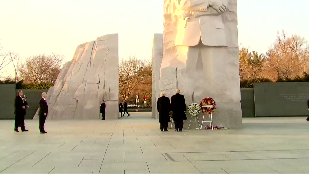 President Trump and Vice President Pence were greeted with jeers as well as chants of 'U-S-A! U-S-A!' as they made an unscheduled visit to the Martin Luther King Jr. memorial