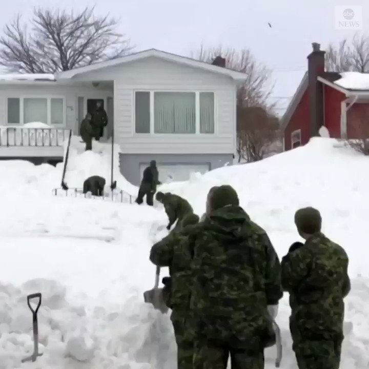 About 300 Canadian troops were sent to assist residents of Newfoundland and Labrador with snow removal and transportation as the country's eastern province recovers from massive blizzard. https://abcn.ws/2G6PRgs
