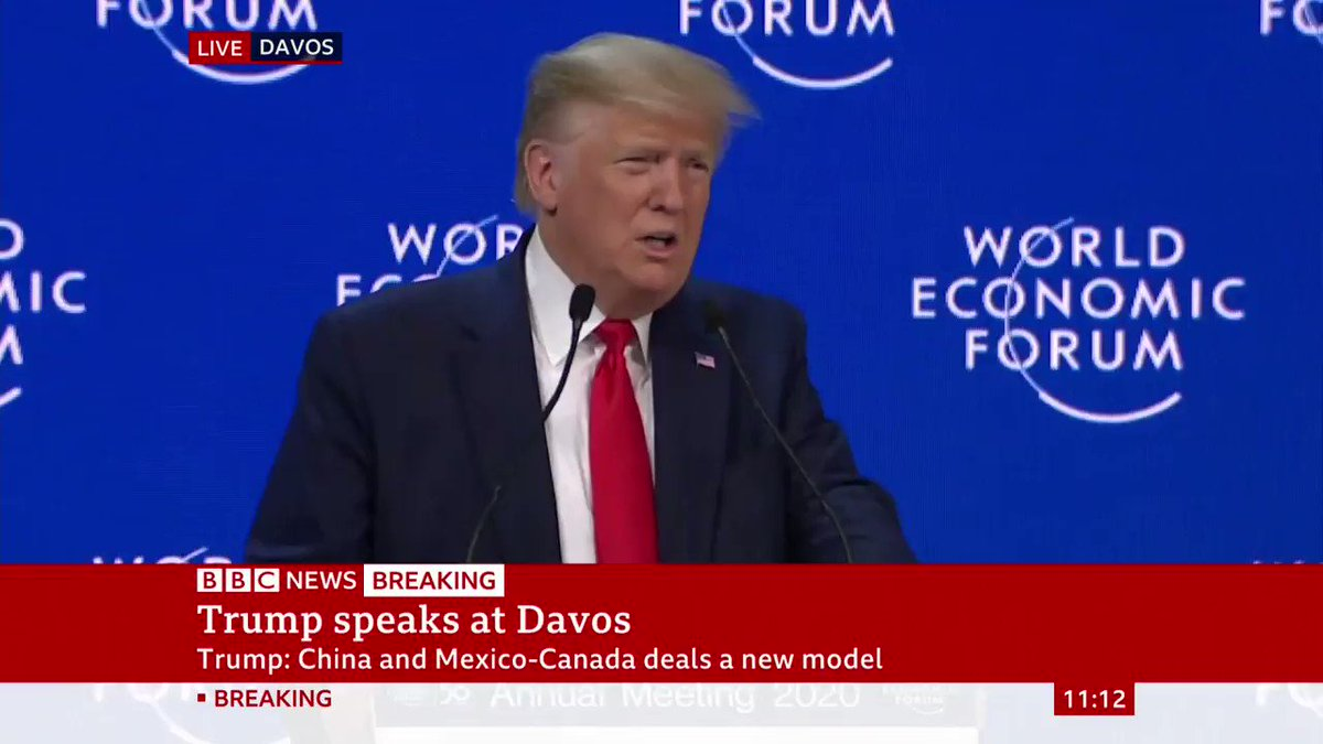 """We urge our friends in Europe to use America's vast supply and achieve true energy security""President Donald Trump - speaking at the World Economic Forum - says the US is ""on the threshold of virtually unlimited reserves of energy""http://bbc.in/3awOBkE"