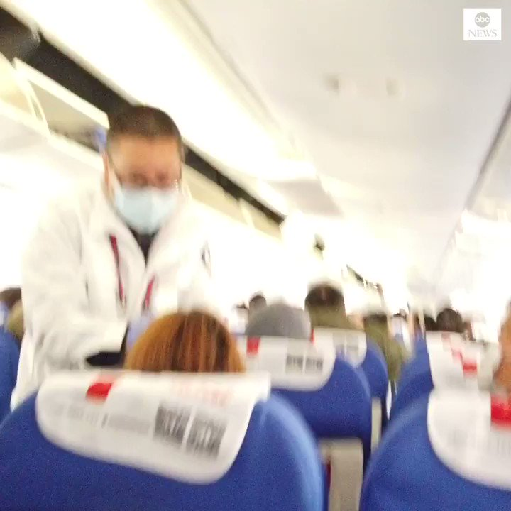 Plane passengers on one of the last flights out of Wuhan get their temperature checked on arrival in Kunming as China tries to contain deadly new viral illness. https://abcn.ws/2Rib6SQ