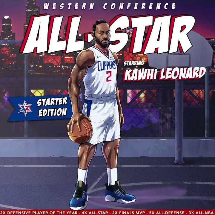 𝐊𝐀𝐖𝐇𝐈 𝐋𝐄𝐎𝐍𝐀𝐑𝐃 𝐀𝐋𝐋-𝐒𝐓𝐀𝐑 𝐍𝐨. 𝟒 𝟸𝟶𝟷𝟿/𝟸𝟶 𝚂𝚝𝚊𝚛𝚝𝚎𝚛 𝙴𝚍𝚒𝚝𝚒𝚘𝚗, 𝟷/𝟷  Congrats @kawhileonard on being named an #NBAAllStar starter!