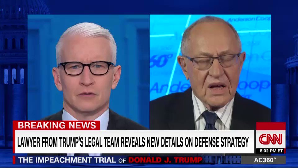 Alan Dershowitz, a lawyer on President Trump's impeachment defense team, reveals new details about the defense's strategy, saying he'll present for less than an hour on Monday and so far has not shown the White House legal team a draft of his presentation https://cnn.it/2GqjzNM