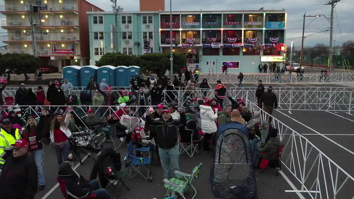 MUST WATCH: President Trump doesnt take the stage in Wildwood, New Jersey for another 25 HOURS!  This is what the line looks like RIGHT NOW!  #TrumpRallyWildwood