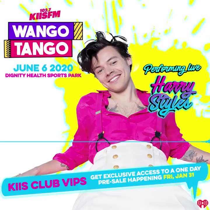 JUST ANNOUNCED: @Harry_Styles will perform at #WangoTango on 6/6 in LA 🎸! KIIS Club VIPs get the first chance to buy tickets Friday 1/31! Sign up for free now: ihe.art/fC6luzM What songs do you want to hear? #HarryStyles #FineLine #AdoreYou