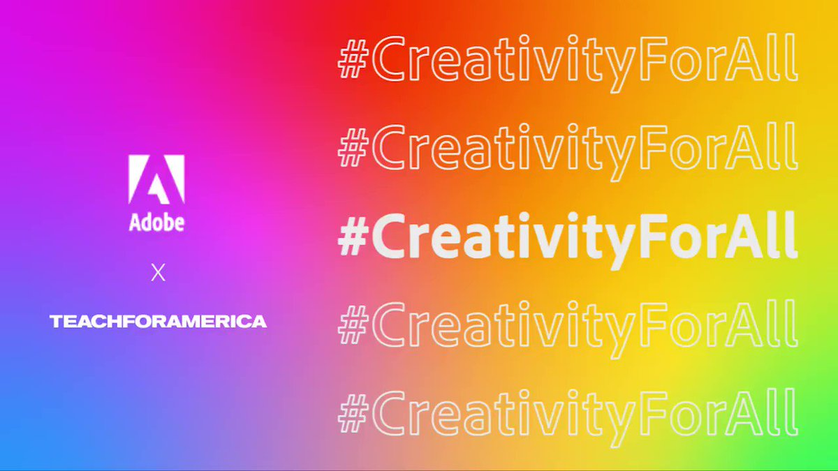 Creativity lives within all of us. Help us make an impact and share gratitude for those that inspire your creativity.   For every mention of #CreativityForAll, we'll donate $5 to @TeachForAmerica: https://adobe.ly/31H9WEh