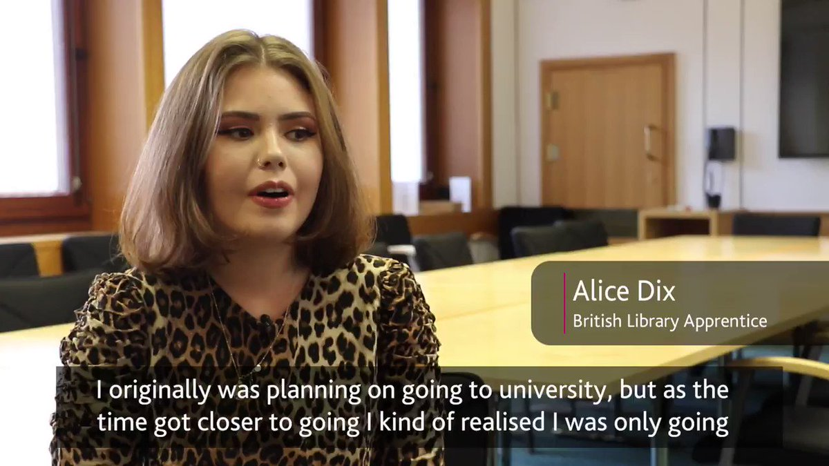 """There's always something new to get involved in.""  Meet @BritishLibrary apprentice Alice, who's enjoying a varied and rewarding apprenticeship working behind the scenes at one of the capital's most iconic institutions👇  @apprenticeships 