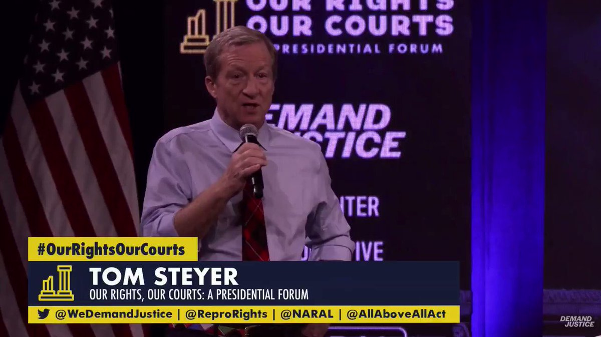 According to @TomSteyer the courts are political. We need a plan to rebalance them. #AskAboutTheCourts #DemDebate