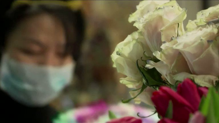 Image for the Tweet beginning: Beijing florist takes on coronavirus