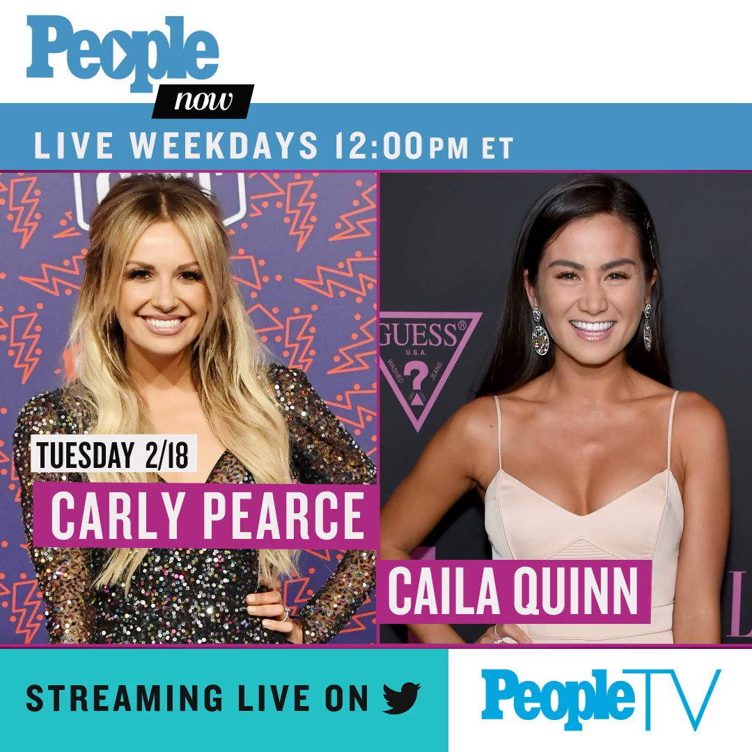 Today on #PeopleNow: @carlypearce and @CailaQuinn! Watch — Weekdays 12pm ET/9am PT