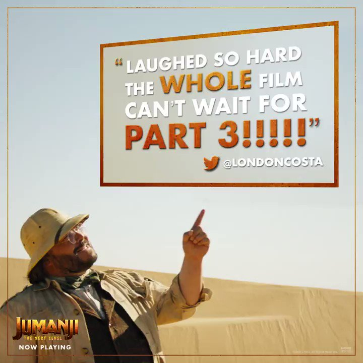 Keep the fun going until then by seeing #JUMANJI again and again! See it in theaters, now playing.