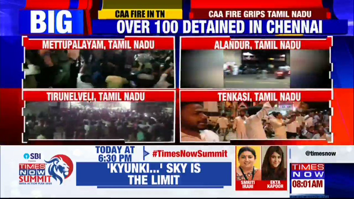 Anti-CAA fire in Tamil Nadu intensifies after spontaneous protests in the state, over 100 people detained in Chennai. TIMES NOW's Shilpa with a ground report.