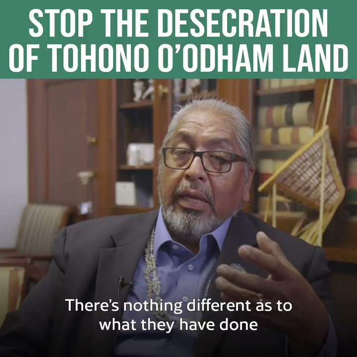 Trump's destruction at the border is erasing Native American history, which is to say it's erasing American history.  The Tohono O'odham have seen their land destroyed &  sacred sites ruined.  Listen to Chairman Ned Norris about what this means & why we must end it. #NoBorderWall