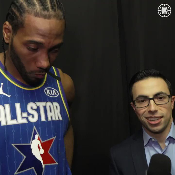 Taking it back to the 213. 🎤 @kawhileonard chats with @NoahEagle15 after his MVP performance.
