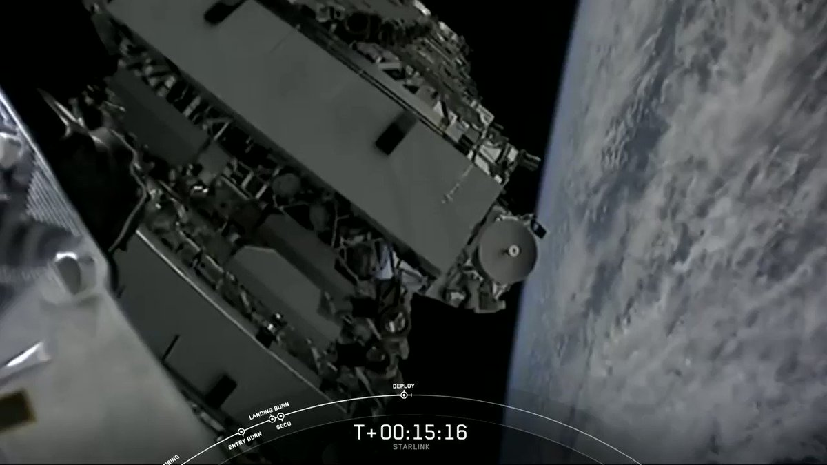 Image for the Tweet beginning: Successful deployment of 60 Starlink