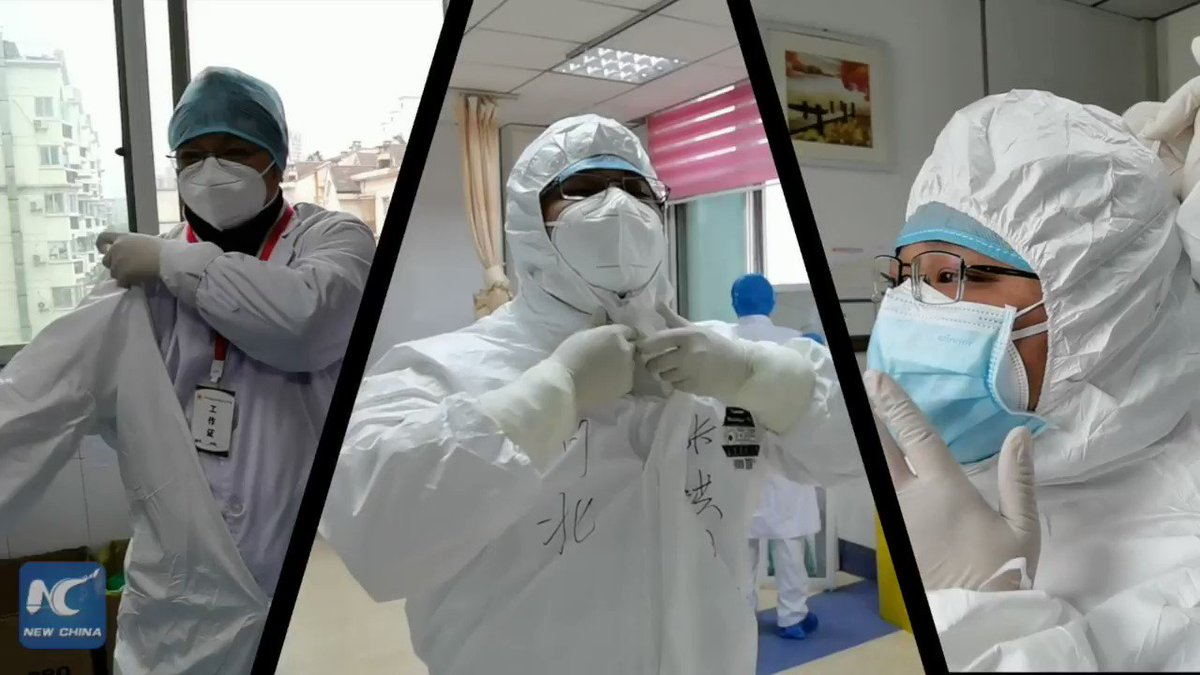 Heavy, cumbersome, layer by layer...but...it's a must. Two doctors working on the frontline of the #COVID-19 outbreak in Wuhan, China, show how to properly don and doff protective equipment
