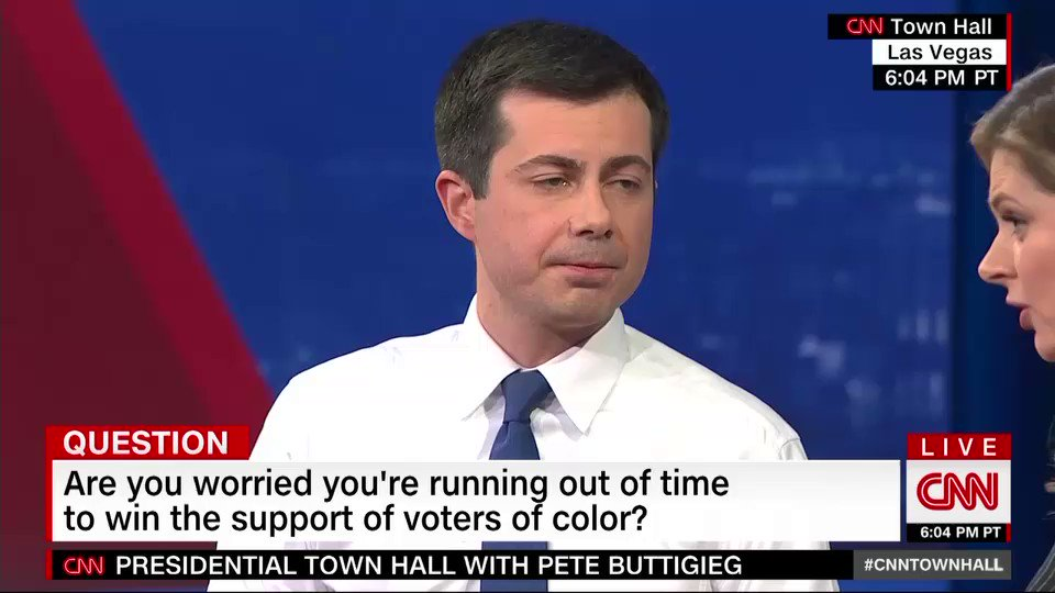 """Pete Buttigieg says school active shooter drills sound closer to what he learned """"as part of military training.""""  """"Part of why I believed I was in the military was…so that kids at schools in America would never have to have that experience"""" #cnntownhall https://cnn.it/2uNMVU7"""