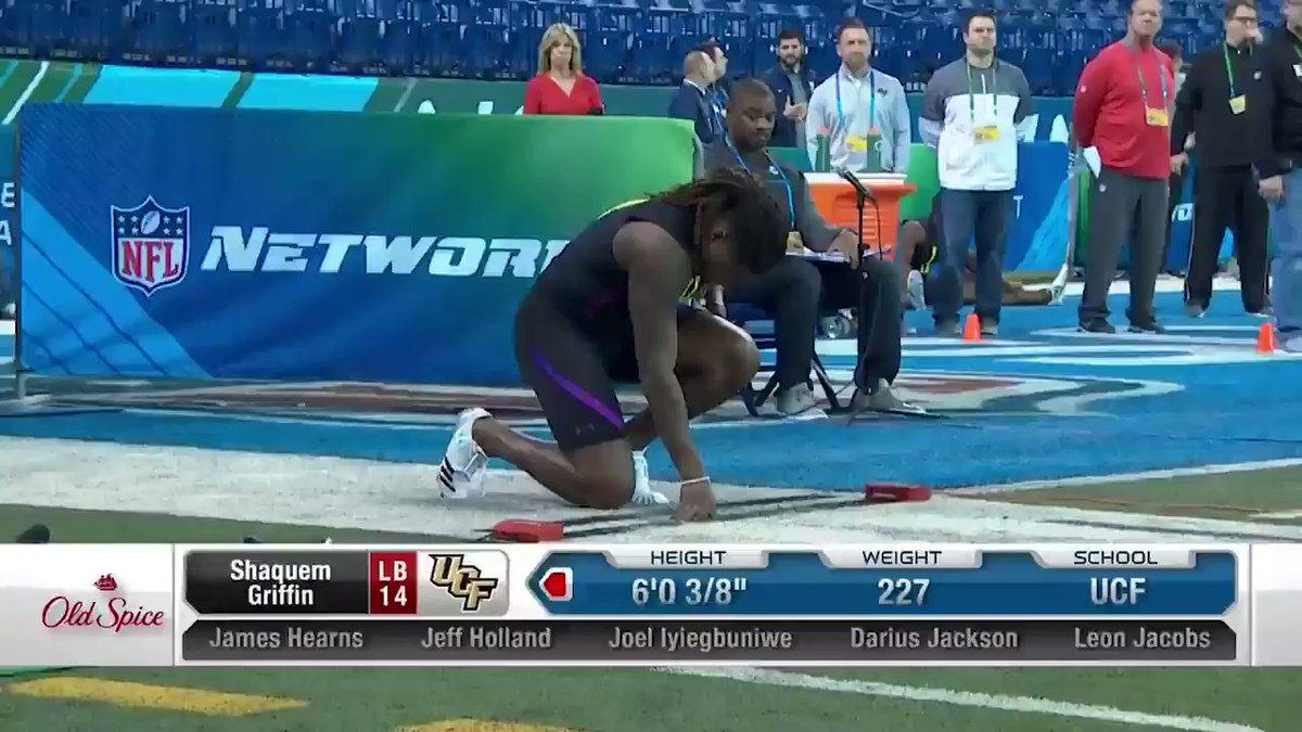A 4.38 40-yard dash. The fastest LB since 2006. Yeah, @ShaquemGriffin did that. 🔥  📺: 2020 #NFLCombine starts February 27 on @nflnetwork