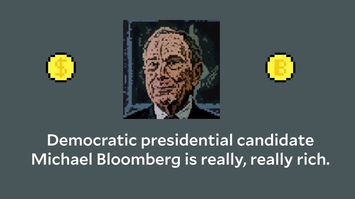 Mike Bloomberg is WAY richer than people realize.Bloomberg's so rich that it's nearly impossible to conceptualize just how much money he has. So we made an animation to help. http://bit.ly/2HEkuuu