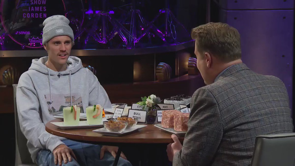james singing 'Yummy' to justin during #SpillYourGuts is a power move. #LateLateBieber