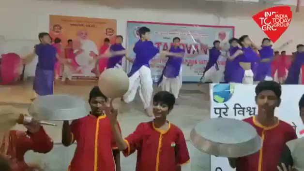 #NaMosteTrump | #Gujarat: Preparations are in full swing for US President @realDonaldTrump and PM @narendramodi's welcome in #Ahmedabad. School students are all set to perform for them. Watch @mausamii2u's #ReporterDiary More Videos : http://bit.ly/IndiaTodaySocial …