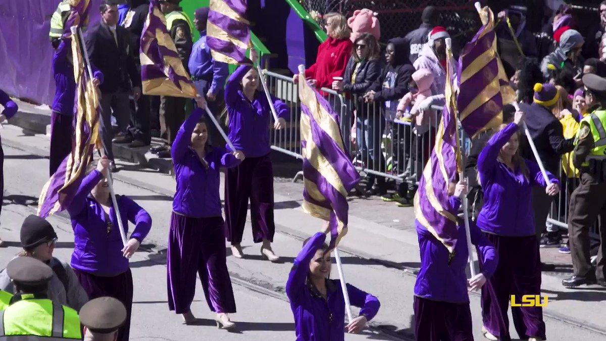Marching into #MardiGras break like… 💜💛💚 #LSU