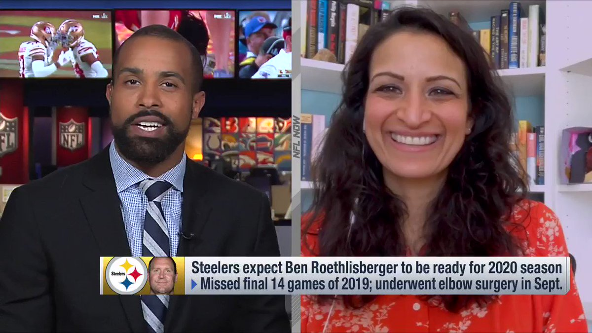 Once he begins throwing, the beard is coming off. 😂 @AKinkhabwala has the latest on Big Ben 👇 📺: NFL Now