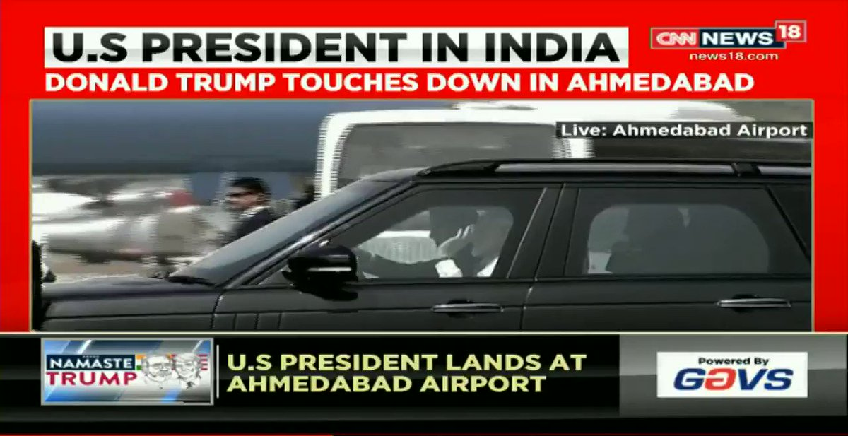 #NewsAlert - Prime Minister Narendra Modi arrives at Ahmedabad airport to receive US President Donald Trump.  #NamasteTrump   #LIVE Updates: https://www.news18.com/news/india/donald-trump-india-visit-live-updates-us-president-melania-ivanka-jared-kushner-ahmedabad-motera-modi-taj-mahal-2512351.html …
