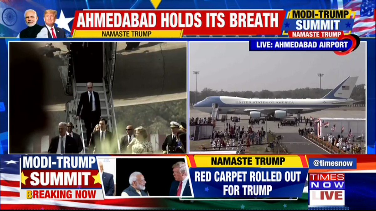 #LIVE | U.S President @realDonalTrump, 1st Lady Melania Trump (@MELANIATRUMP) arrive at Ahmedabad, India.   The red carpet has been rolled out for the grand welcome.  TIMES NOW's Editor-in-Chief Rahul Shivshankar & Maroof Raza with details. | #ModiTrumpSummit #NamasteTrump