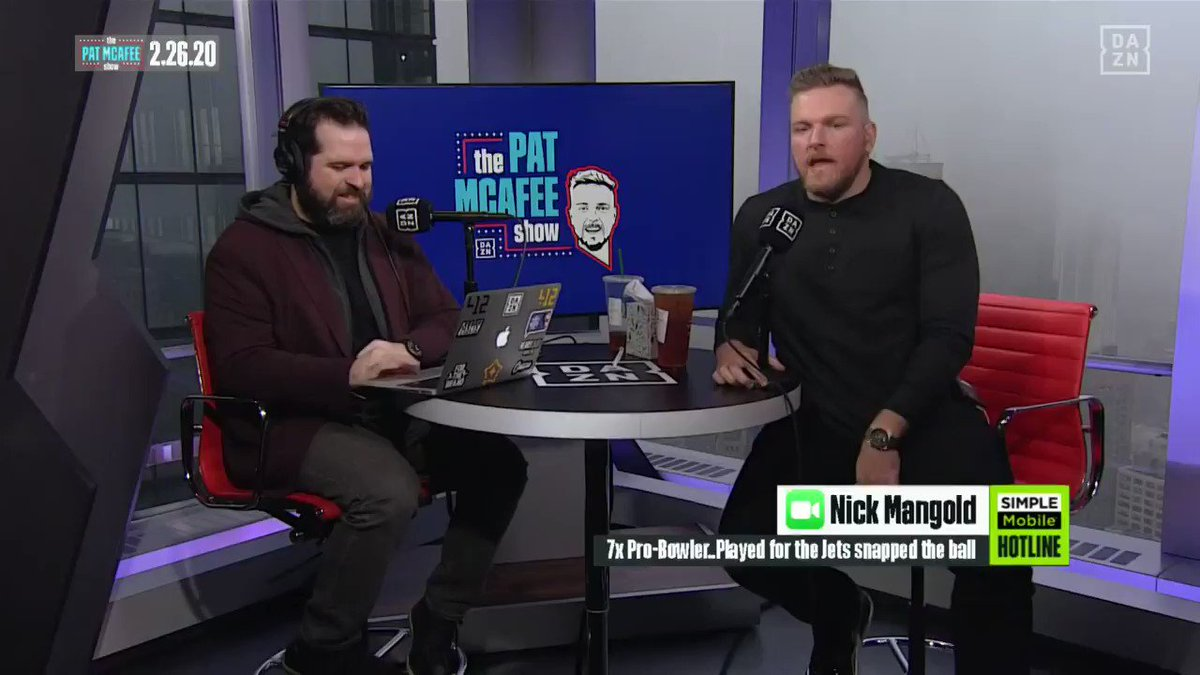Chatting about the NFLPA player rep vote and CBA negotiations with @nickmangold #PatMcAfeeShowLIVE