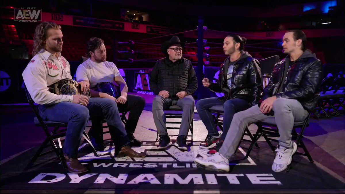 """""""We are the best tag team in the world...You guys aren't. We are!"""" - #MattJackson. Watch #AEWDynamite NOW on @TNTDrama 8e/7c #AEWonTNT @AEWonTNT"""