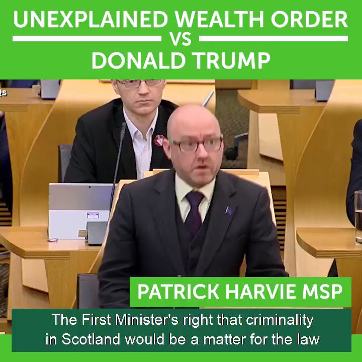 Following revelations by @MartynMcL today on Trump Org development plans, @PatrickHarvie has reiterated calls for the Scottish Government to seek an Unexplained Wealth Order under the Criminal Finances Act. Patrick first raised this matter in parliament in February.