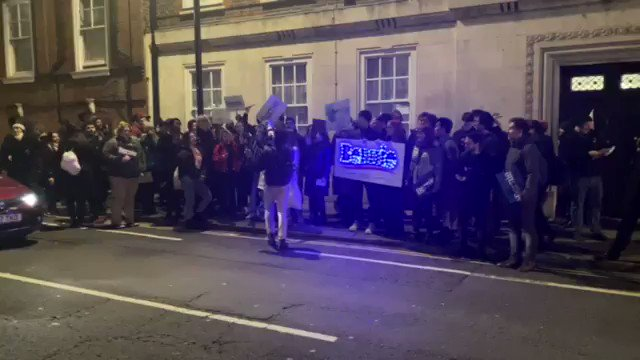 Bernie Sanders supporters in London rally outside a polling station for @DemsAbroad on #SuperTuesday