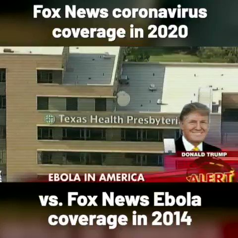 Fox News reacted very differently to Ebola in 2014 than it has to coronavirus and COVID-19 in 2020